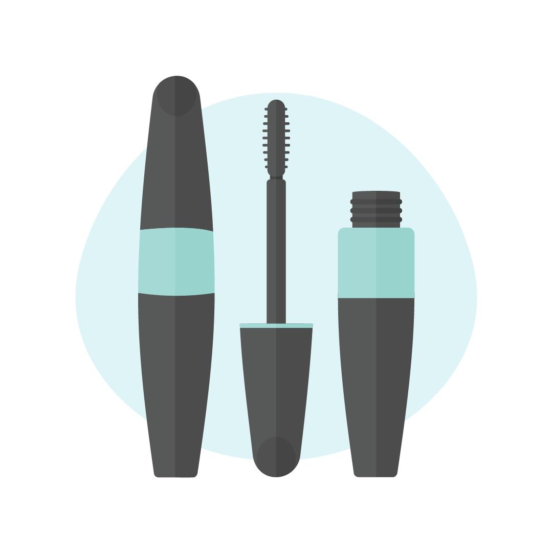 Vector illustration of a Max Factor false lash effect mascara in flat design style