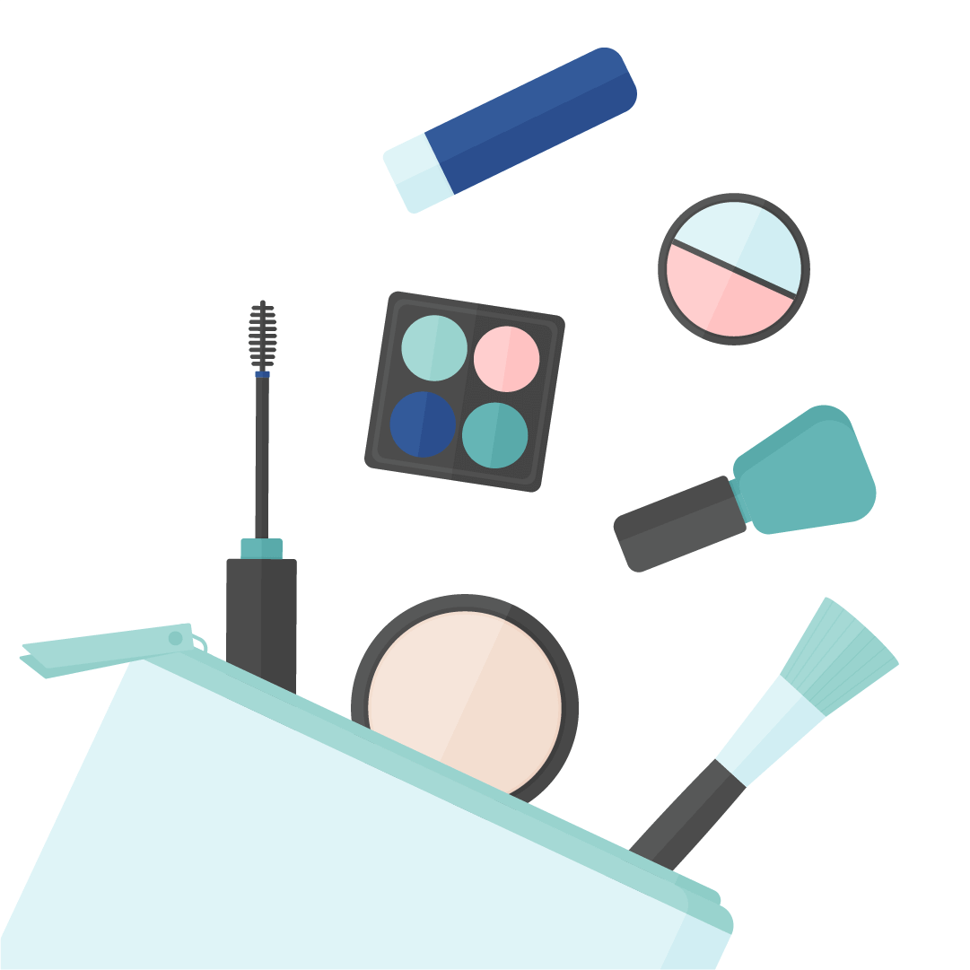 Vector illustration of makeup product falling off the cosmetics bag: mascara, powder, eyeshadow palette, brush, nail polish & powder concealer in flat design style