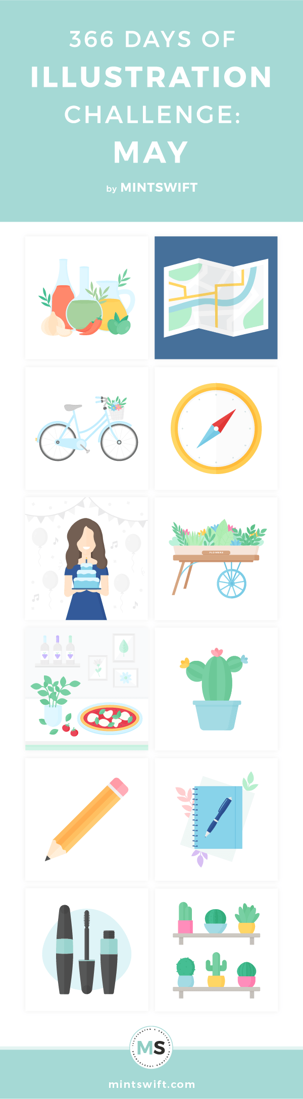 Top 12 flat illustrations about food, cosmetics, (birthday) parties and travel from May