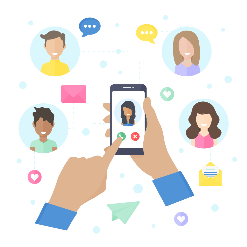 Flat illustration of people connected through a video call. Hands holding a smartphone, calling a family member