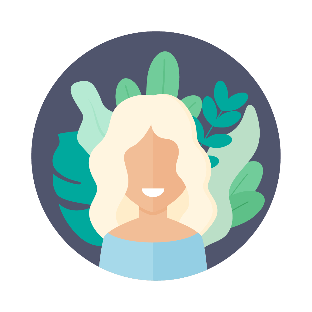 Flat illustration of an avatar of a woman with blonde hair with foliage in the background