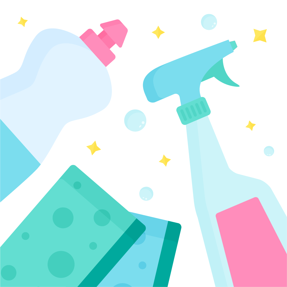 Flat illustration of top view flat lay with dishwashing liquid, window cleaner spray & sponge scourers