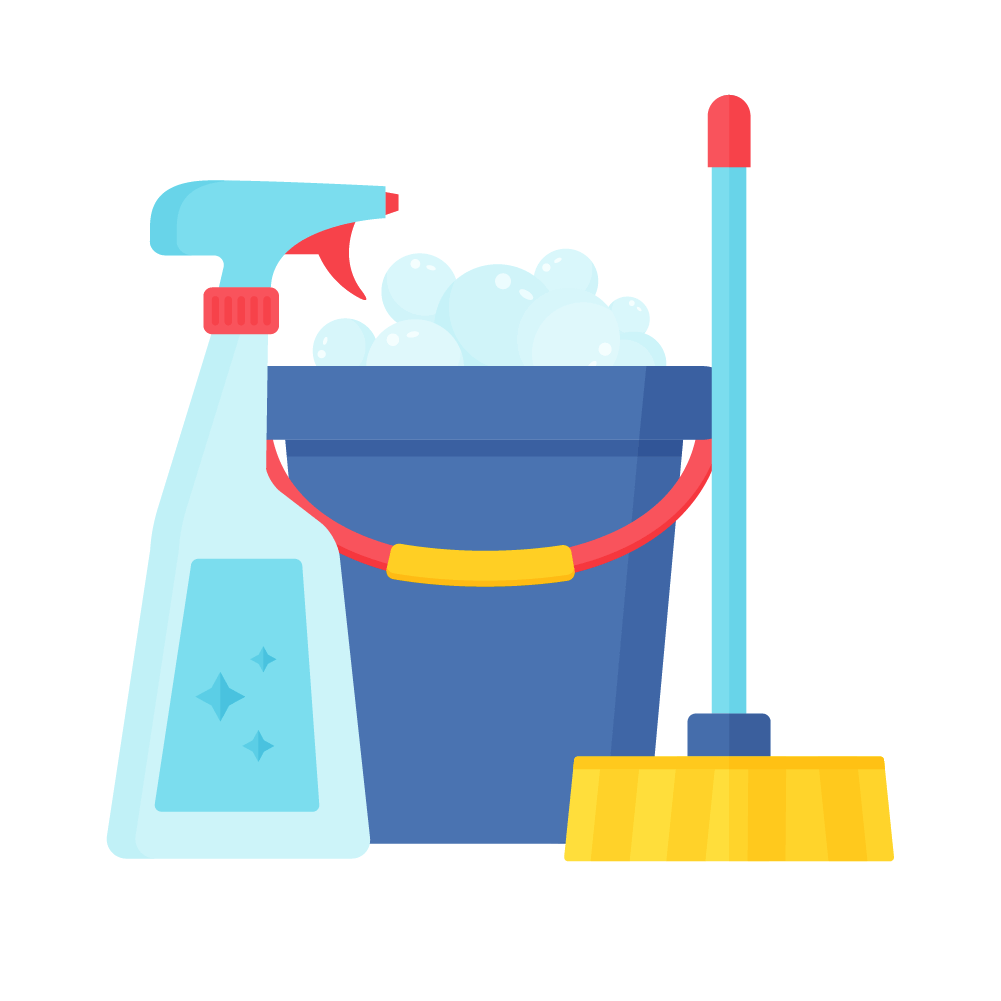 Flat illustration of a window cleaner spray, bucket with bubbles & broom