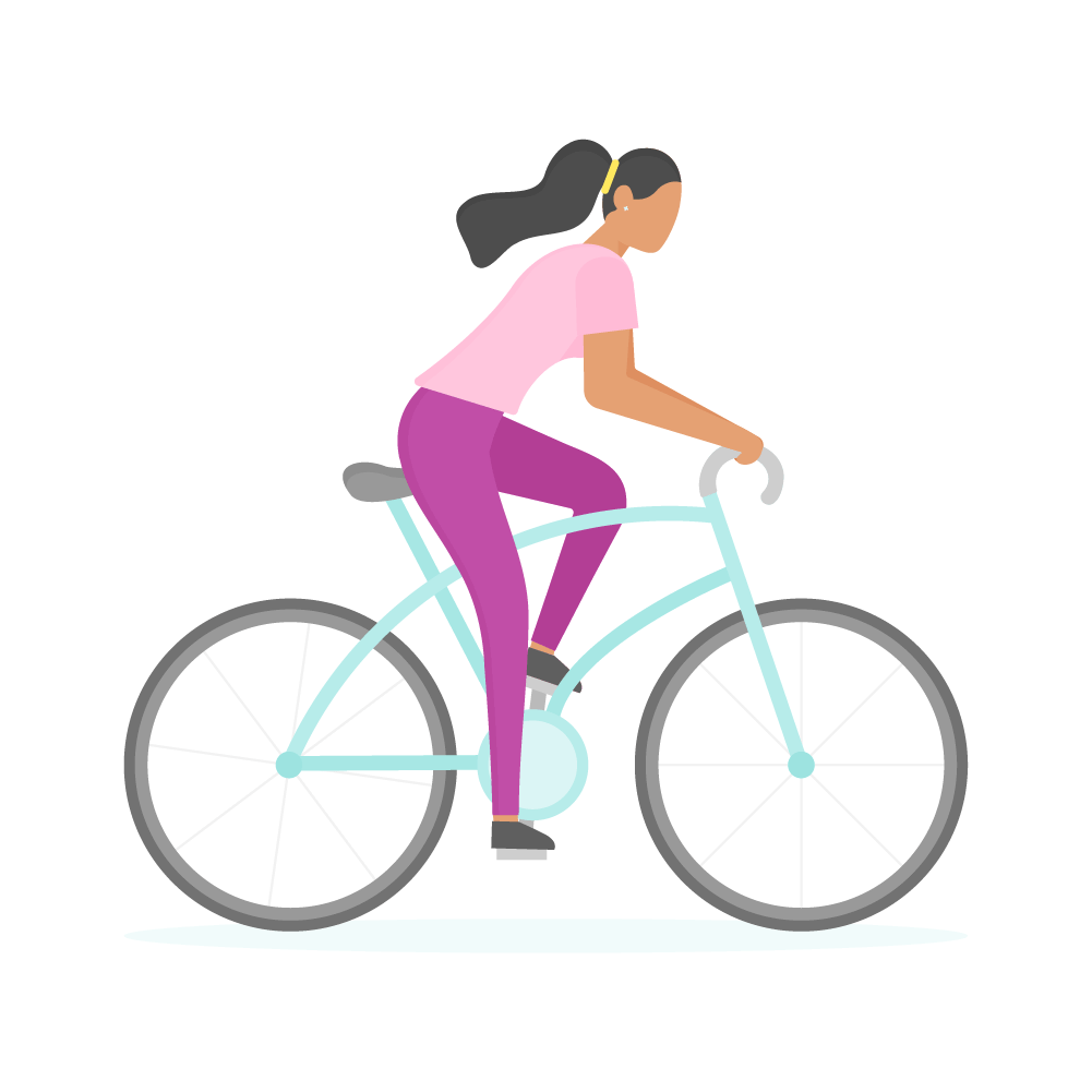 Flat illustration of a dark-skinned woman on a mint green bicycle