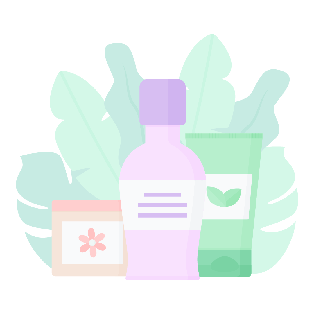 Vector illustration of face cream, body lotion & hand cream with leaves composition in flat design style