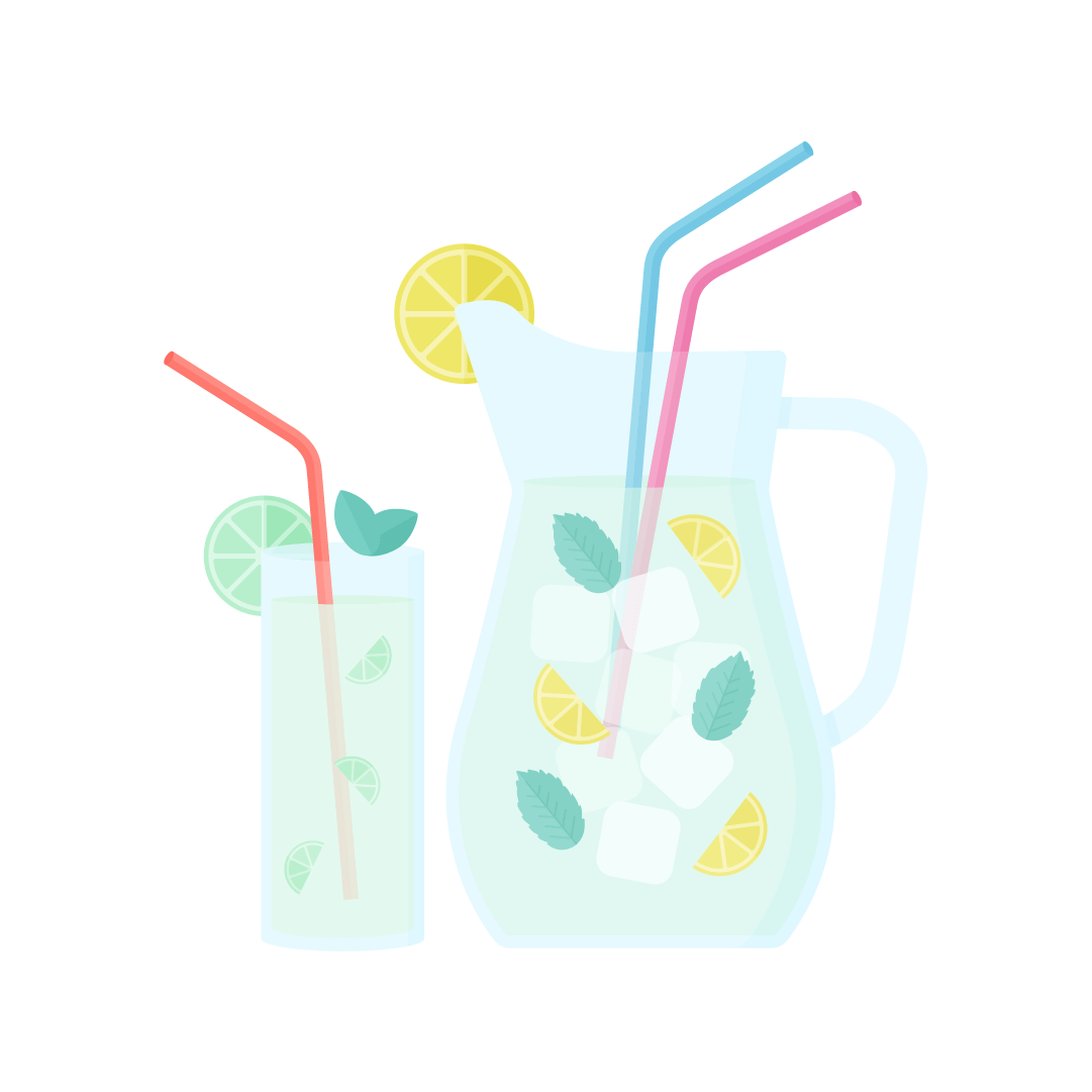 Vector illustration of lemonade in a jug & limeade in a glass with slices of lime, lemon, ice cubes, mint leaves & colourful straws in flat design style