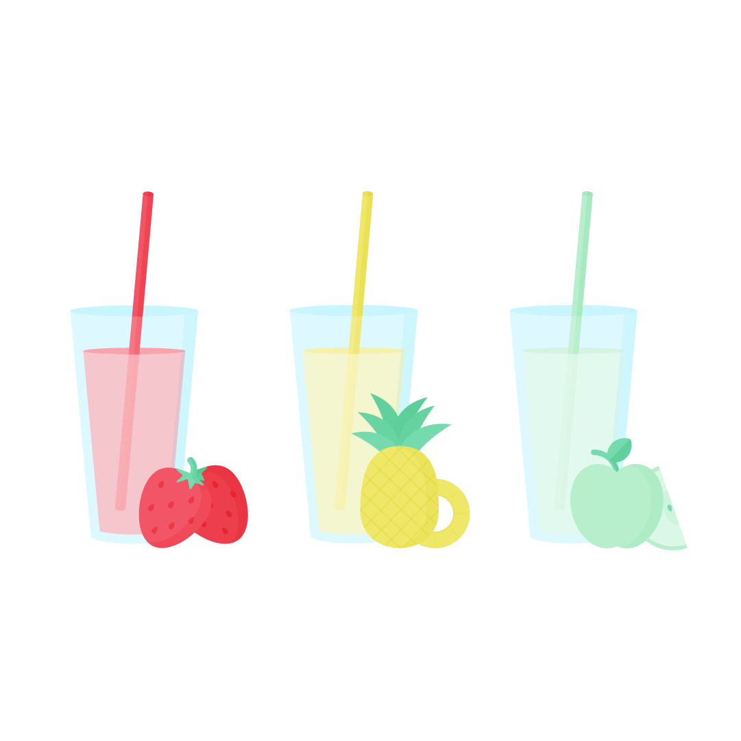 Vector illustration of fruit juice in long glasses with straws & fruits in front: strawberry, pineapple & apple in flat design style