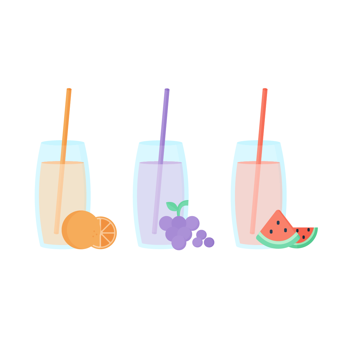 Vector illustration of fruit juice in long glasses with straws & fruits in front: orange, grapes & watermelon in flat design style