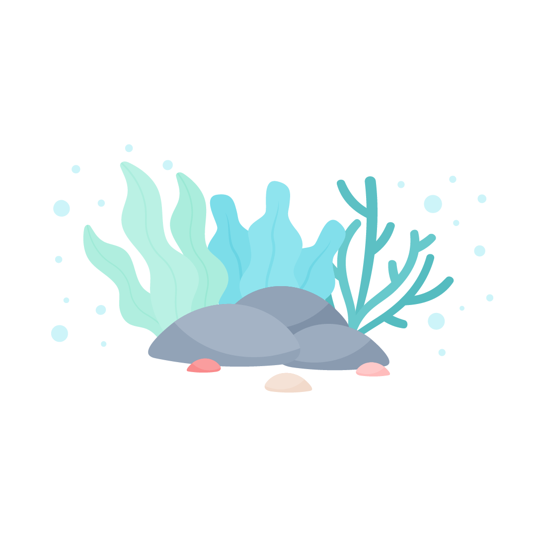 Vector illustration of corals & seaweed behind the stones for World Oceans Day in flat design style
