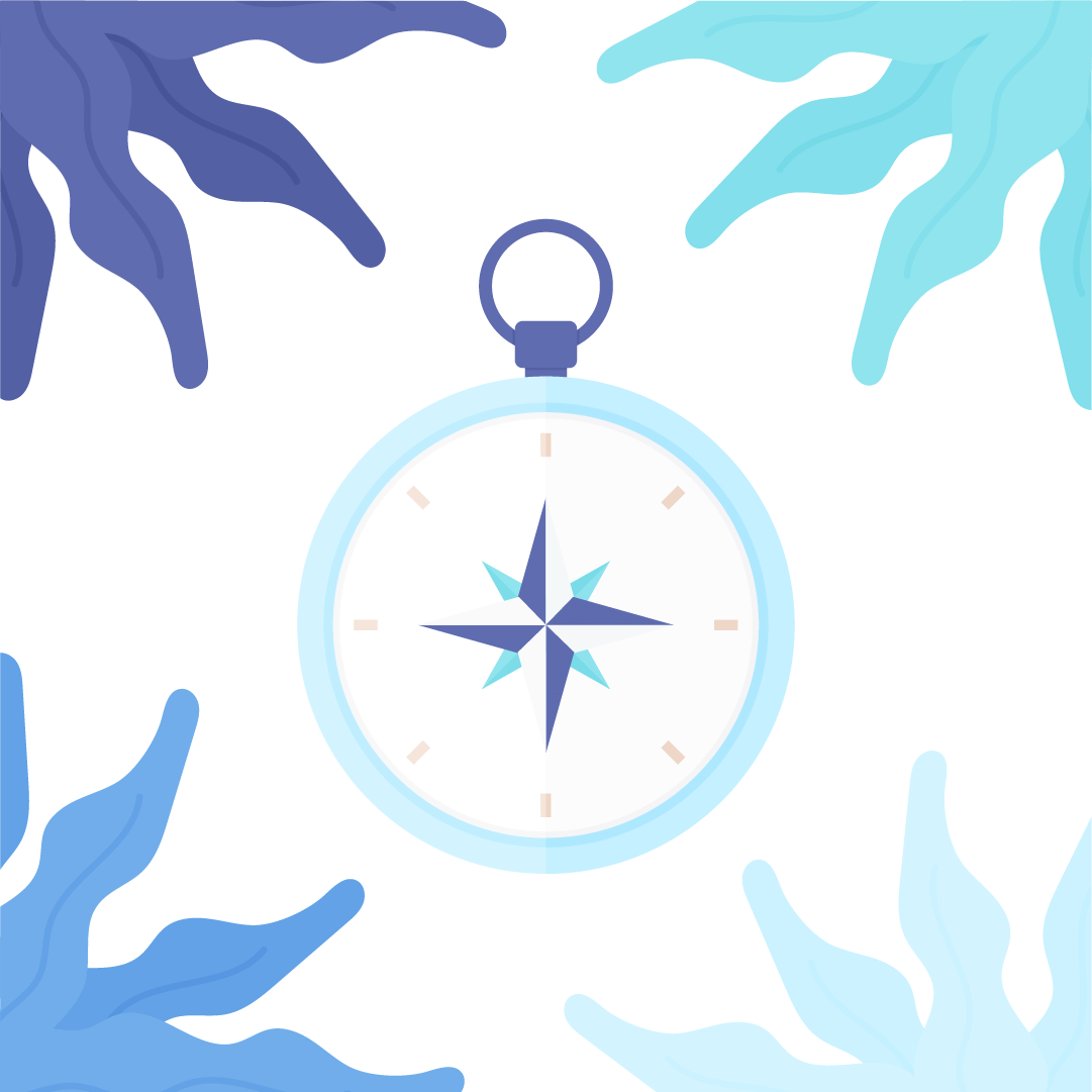 Vector illustration of a compass rose with seaweed frame in flat design style