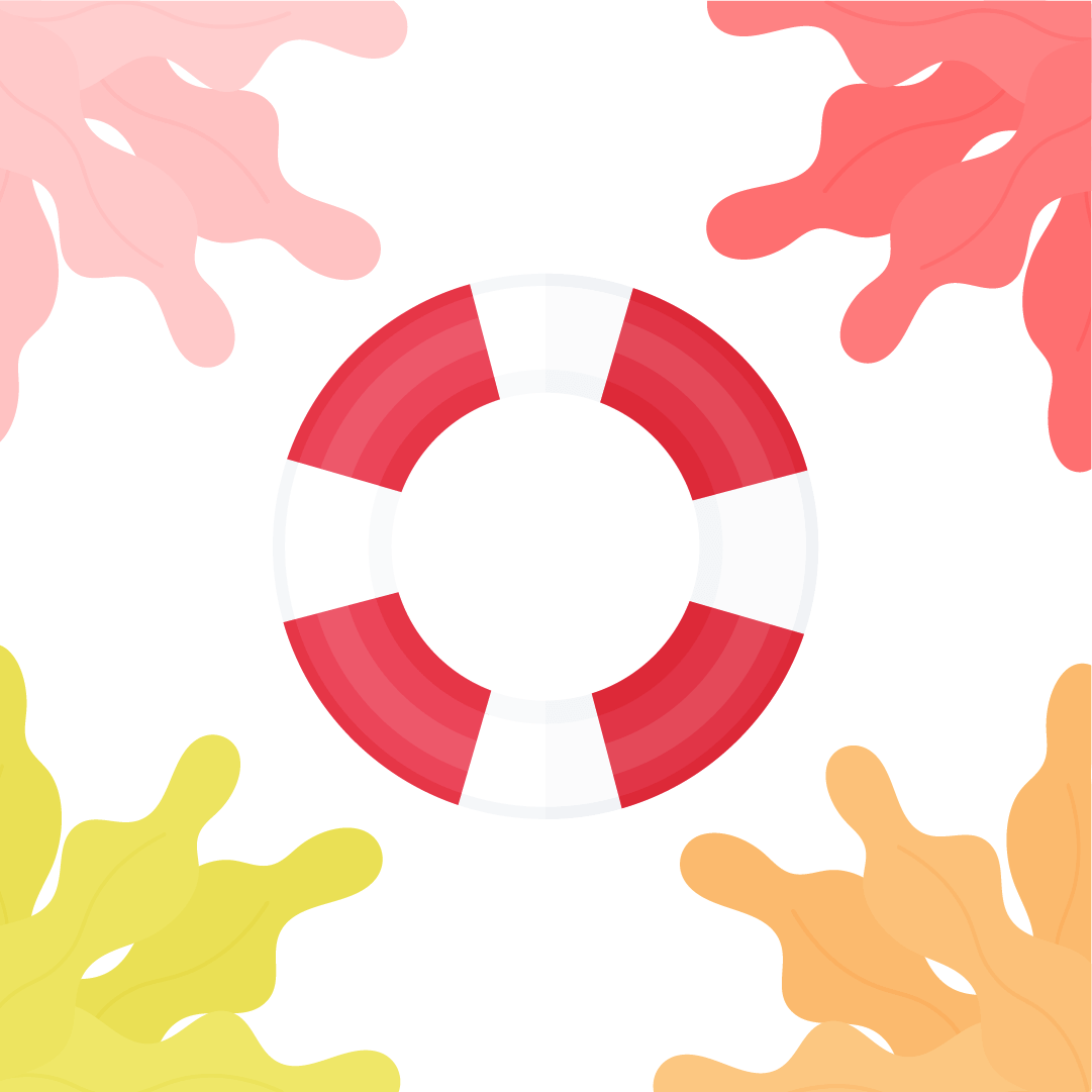 Vector illustration of a lifesaver/lifebuoy with seaweed frame in flat design style