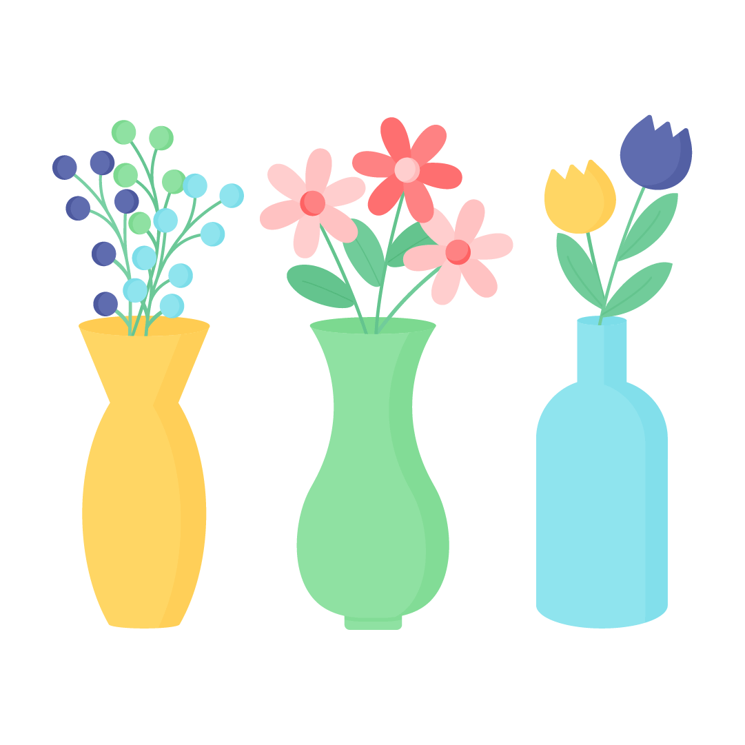 Vector illustration of three vases with flower bouquets in flat design style