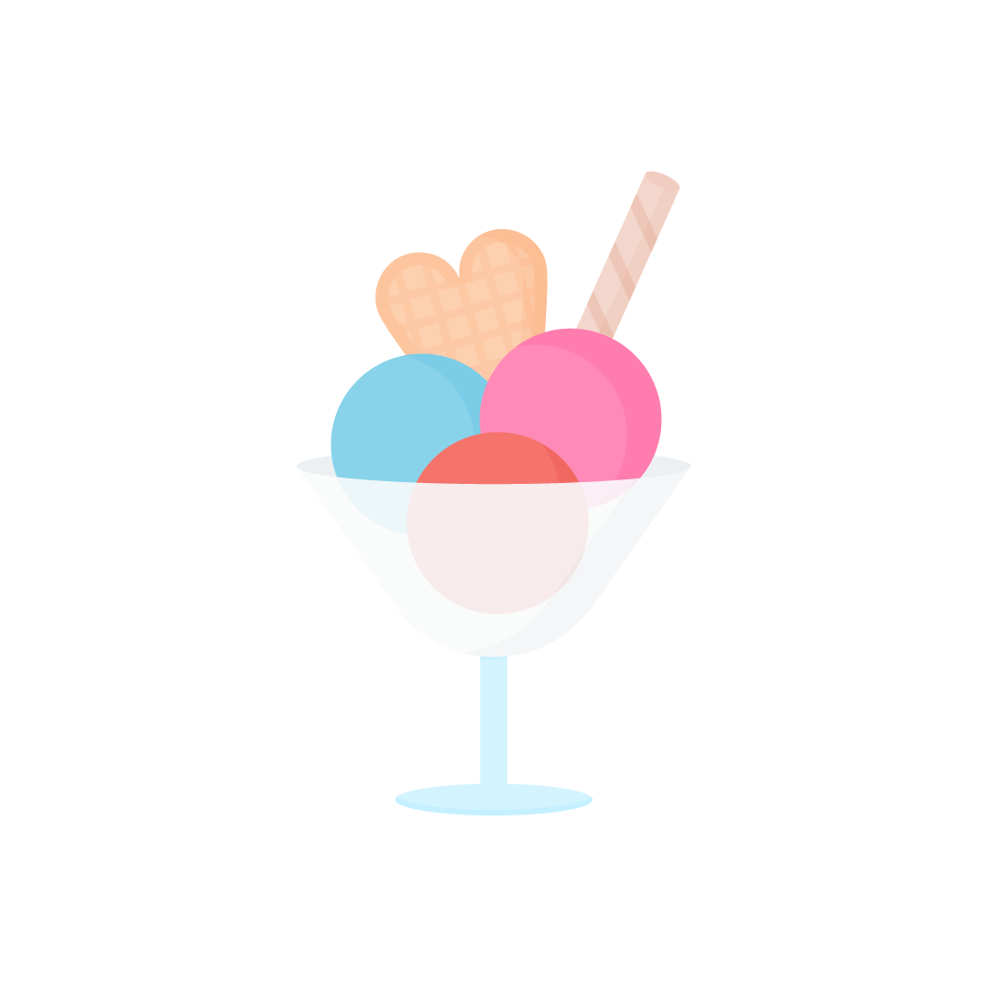 Vector illustration of a three ice cream scoops sundae in a transparent dish with heart-shaped & rolled wafers in flat design style