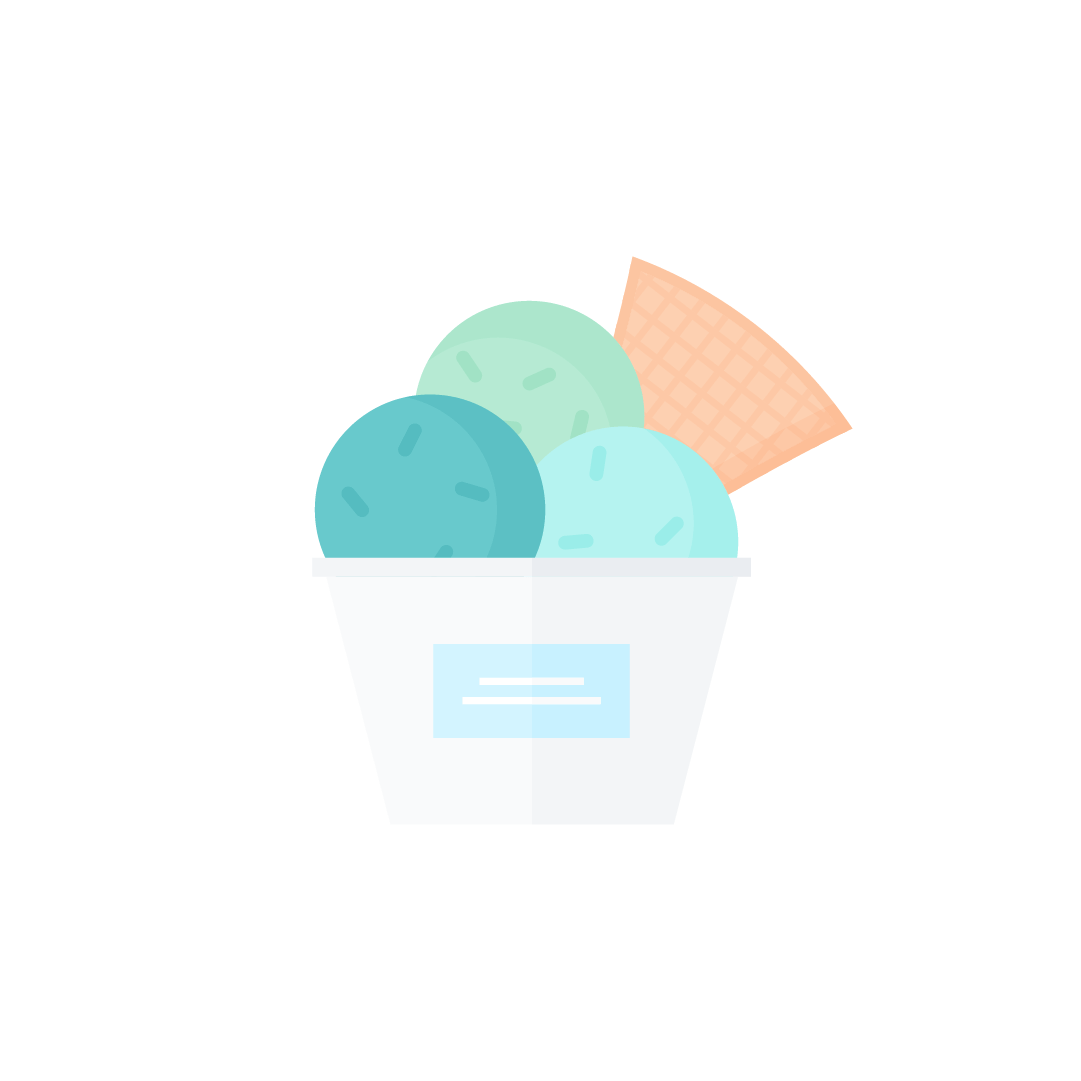 Vector illustration of a three ice cream scoops sundae in a cup with sprinkles & wafer in flat design style