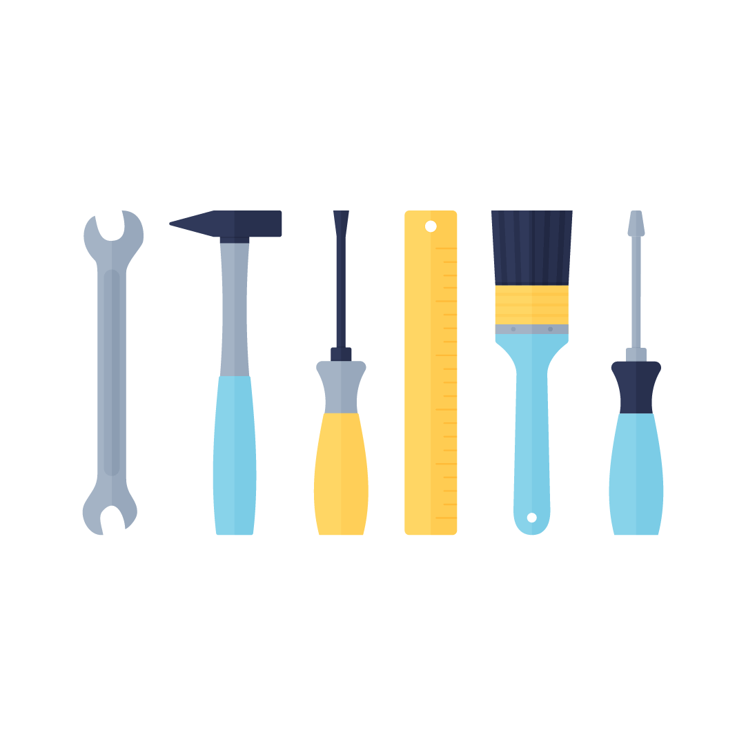 Vector illustration of hand tools for Father's Day (Poland): nut wrench, hammer, screwdrivers, ruler & wall brush in flat design style