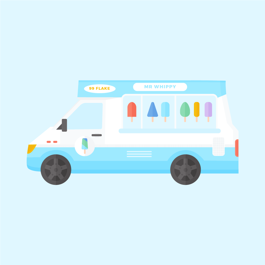 Vector illustration of an ice cream van - Mr Whippy in flat design style