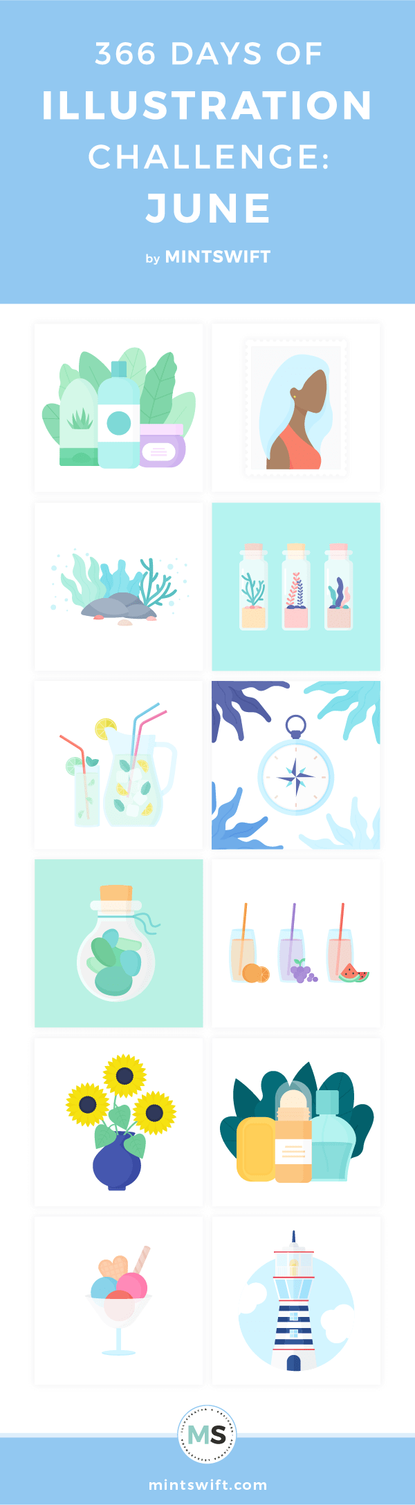 Top 12 flat illustrations about summer, nautical elements, nature from June