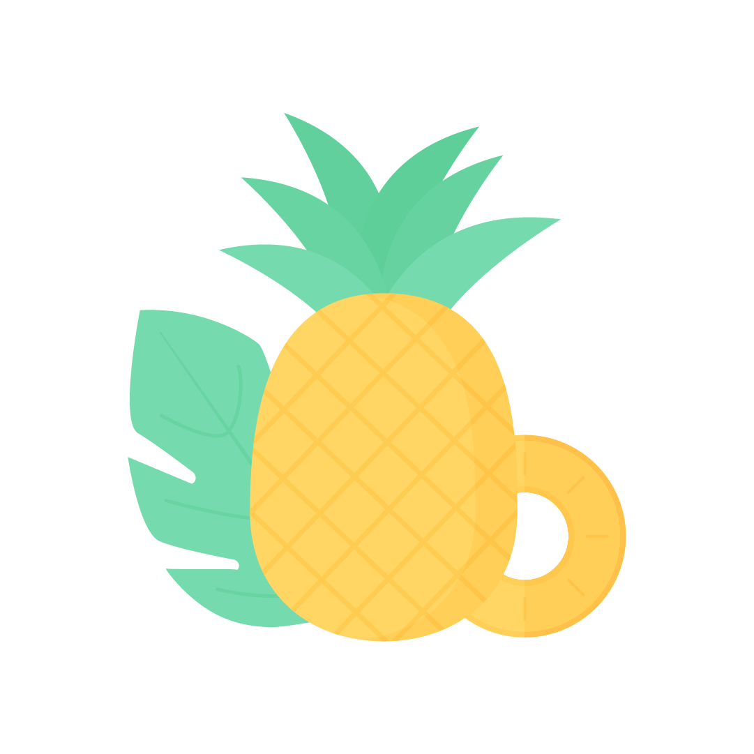 Vector illustration of whole pineapple & slice with Monstera leaf in flat design style