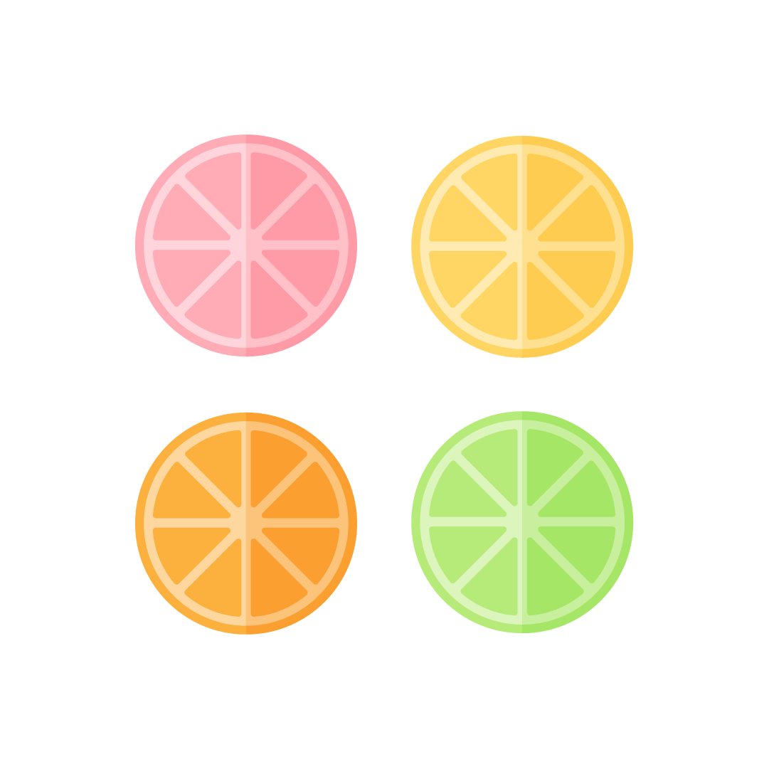 Vector illustration of slices of grapefruit, lemon, orange & lime in flat design style