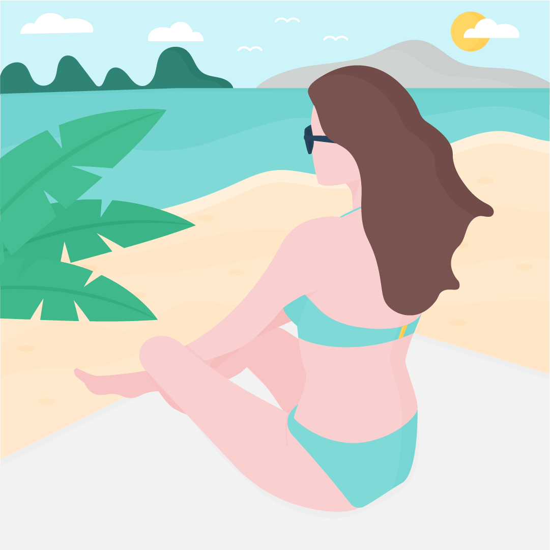 Vector illustration of a woman sitting on a towel on a beach, looking at the sea & mountains in flat design style