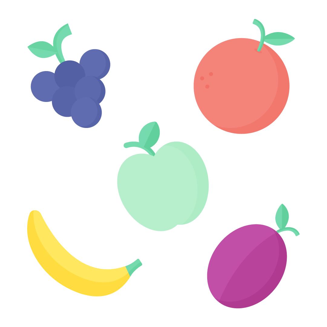 Vector illustration of fruits: grapes, green apple, grapefruit, banana & plum in flat design style