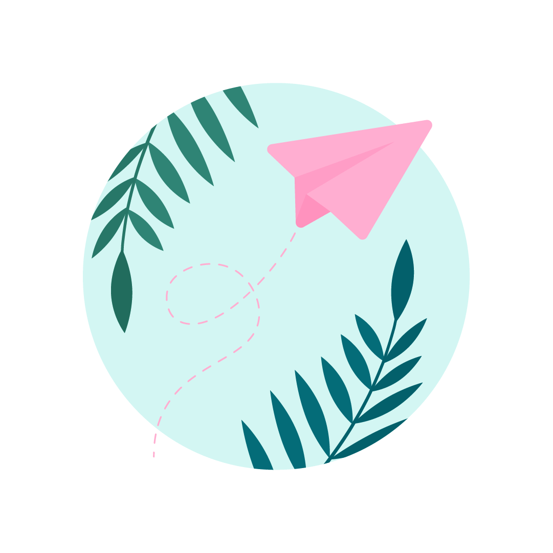 Vector illustration of a light pink paper plane scene with palm leaves in flat design style