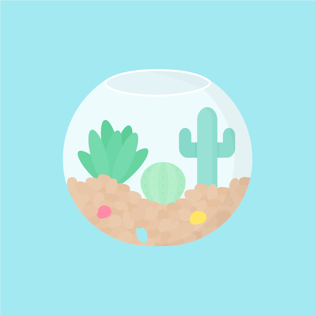 Vector illustration of round glass plant terrarium with various cactus & colourful pebbles in flat design style