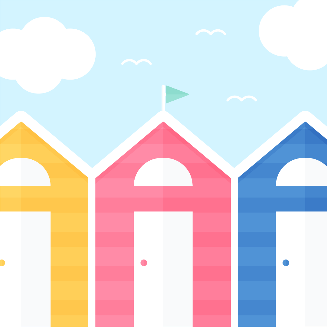 Vector illustration of a British seaside style beach huts sunny day scene in flat design style