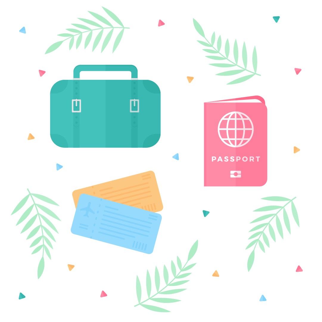 Vector illustration of travel pattern/set: vintage suitcase, passport & plane tickets with palm leaves & triangles in flat design style
