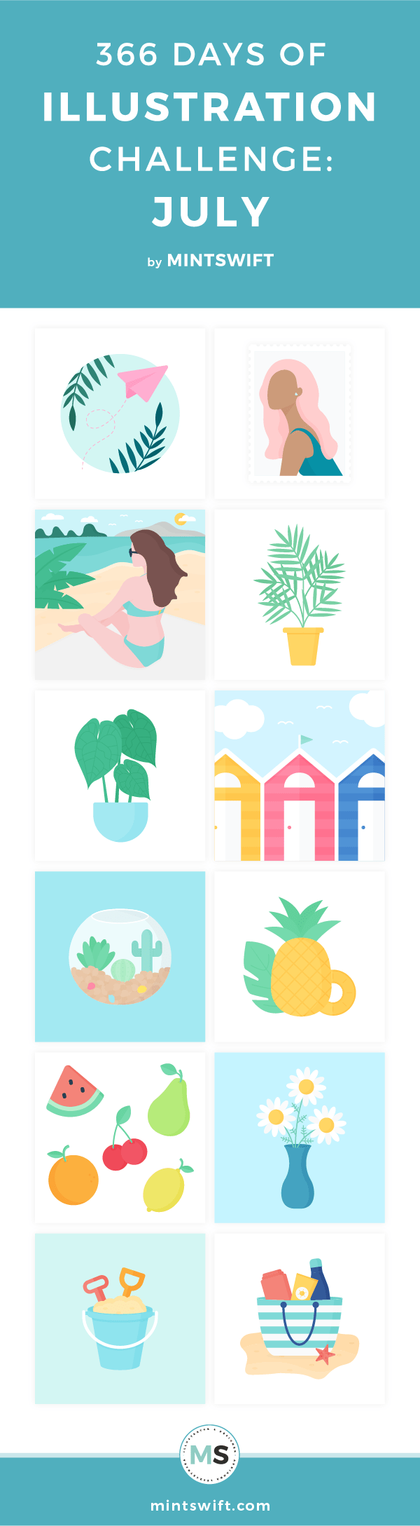 Top 12 flat illustrations about the beach, house plants, fruits from July