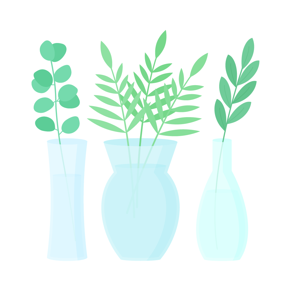 Flat illustration of clear glass vases with leaf branches