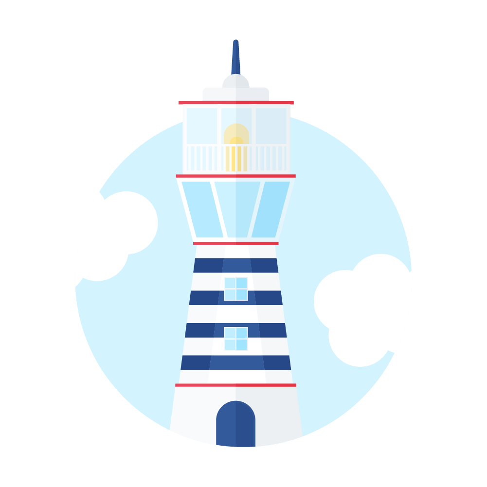 Flat illustration of an old lighthouse scene with clouds