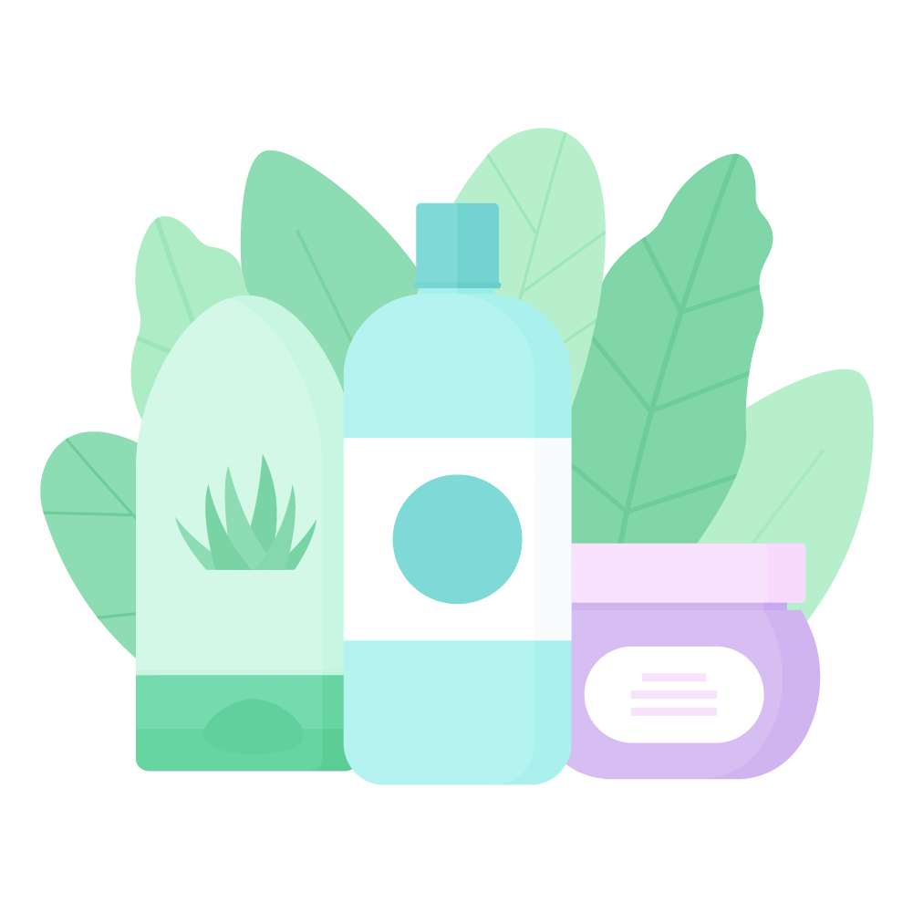 Flat illustration of Shower Gel, Shampoo & Hair Mask with Leaves Composition