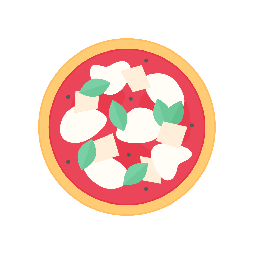 Flat illustration of a sourdough Neapolitan Margherita pizza